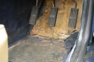 Rotten footwell carpets