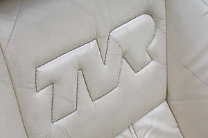 TVR logo stitched into seat