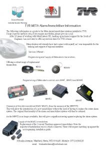 Alarm Immobiliser Information